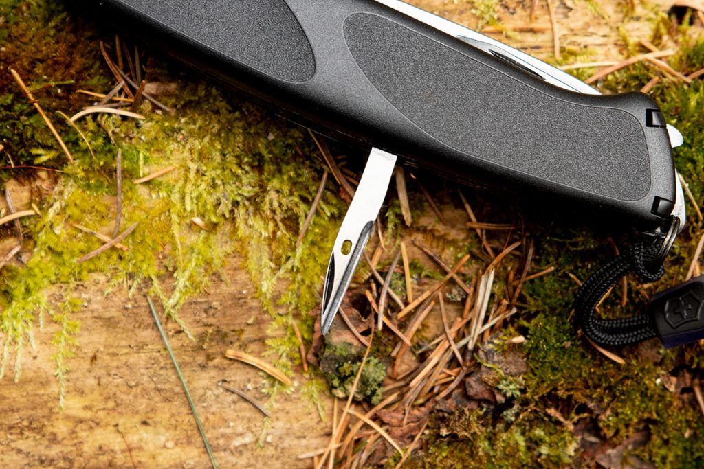 The awl on the Onyx Black Ranger 55 Swiss Army Knife