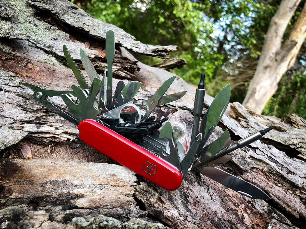 All of the tools displayed on the Swiss Champ XXL Swiss Army Knife