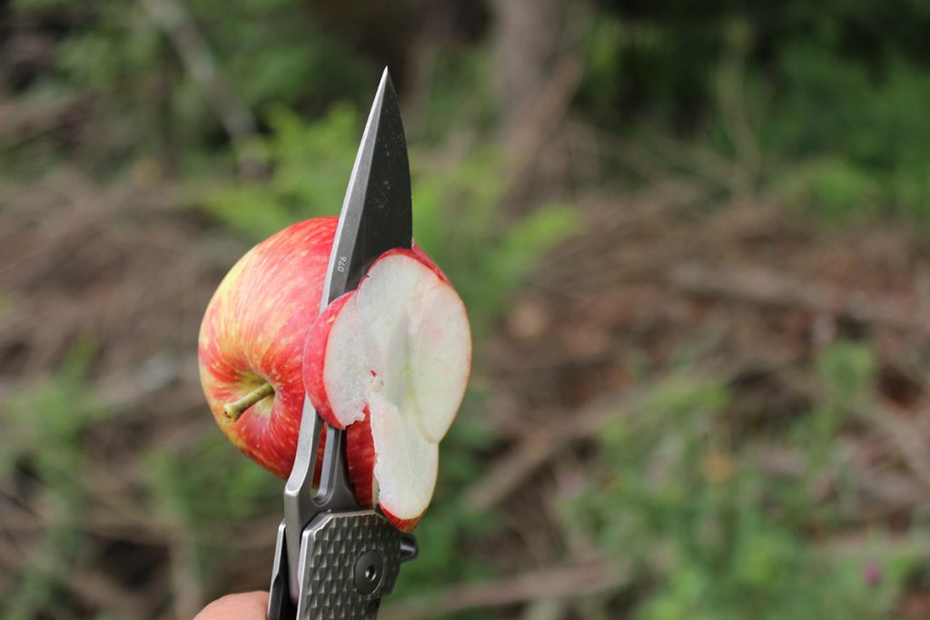 The sharp DPX Gear Demo Flipper easily sliced apples.