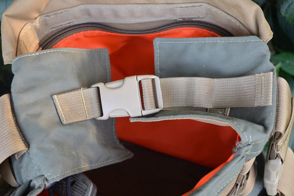 The inner flaps can buckle together to create another layer of security, protecting the bag's contents from bouncing out.