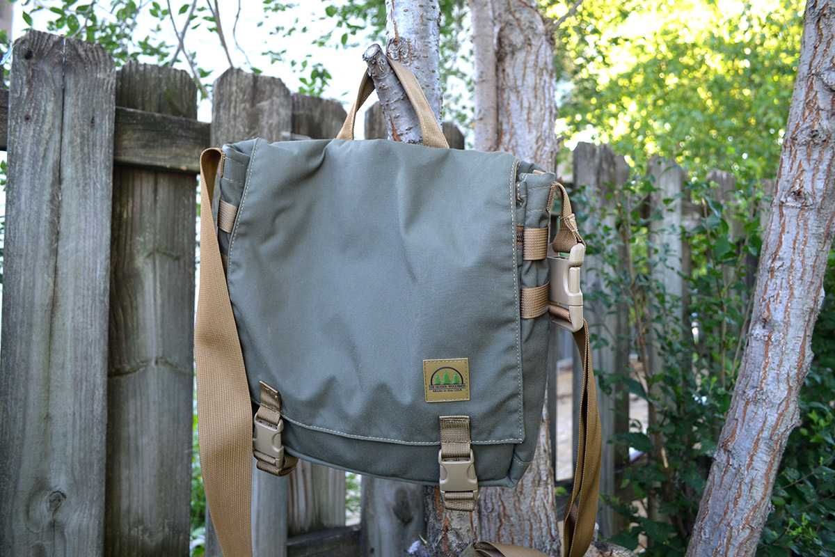 Hanging the Haversack from a small tree gives you access to the contents when you don't want to carry it around camp.
