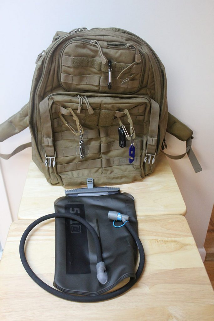 My normal day pack with hydration bladder.