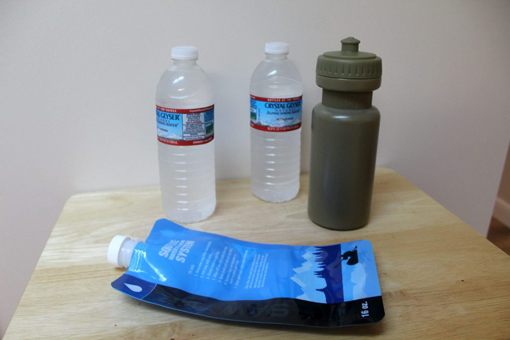Normal water containers carried by hikers, hunters and others. While these are good, they may not be the best option or hold enough water.