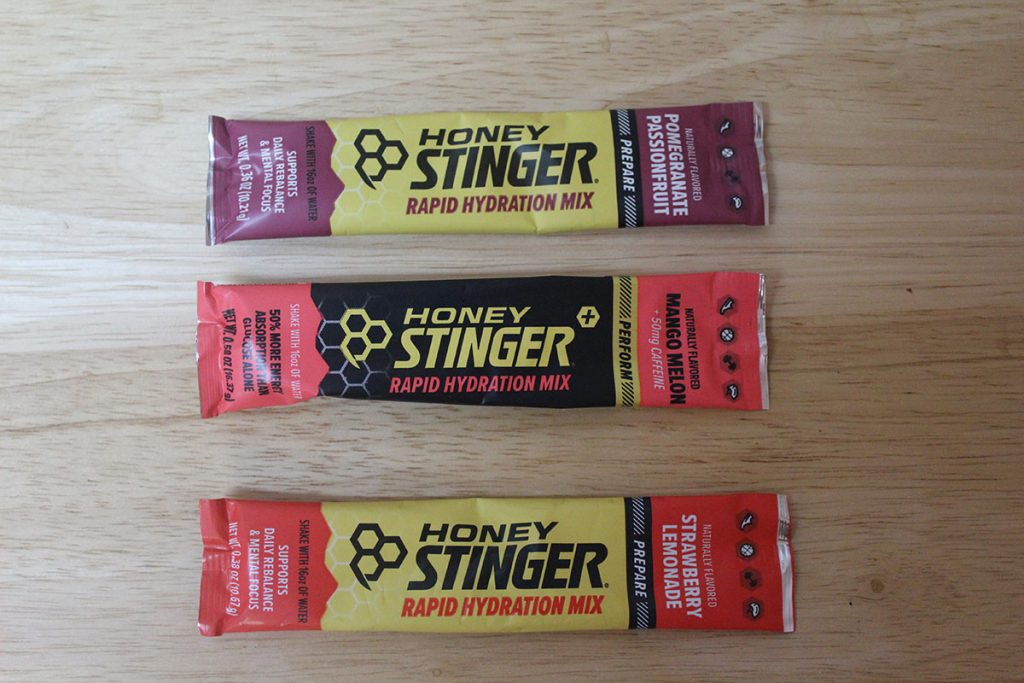 Honey Stinger Rapid Hydration Mix. If you have to add anything to your water, this is it.