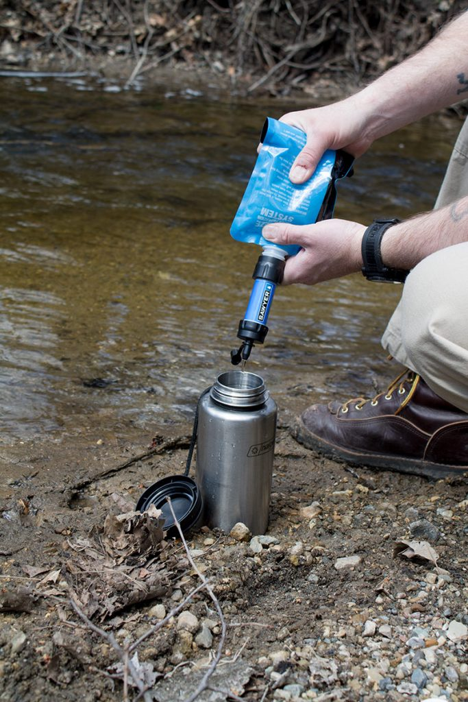 The Sawyer can be used as a straw, inline filter for a bladder system or can be used to filter water into a container using the provided squeeze pouch.