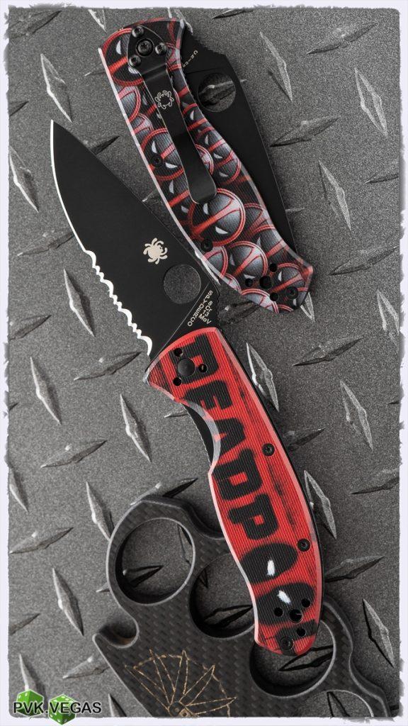 A PVK Vegas custom Deadpool Spyderco.