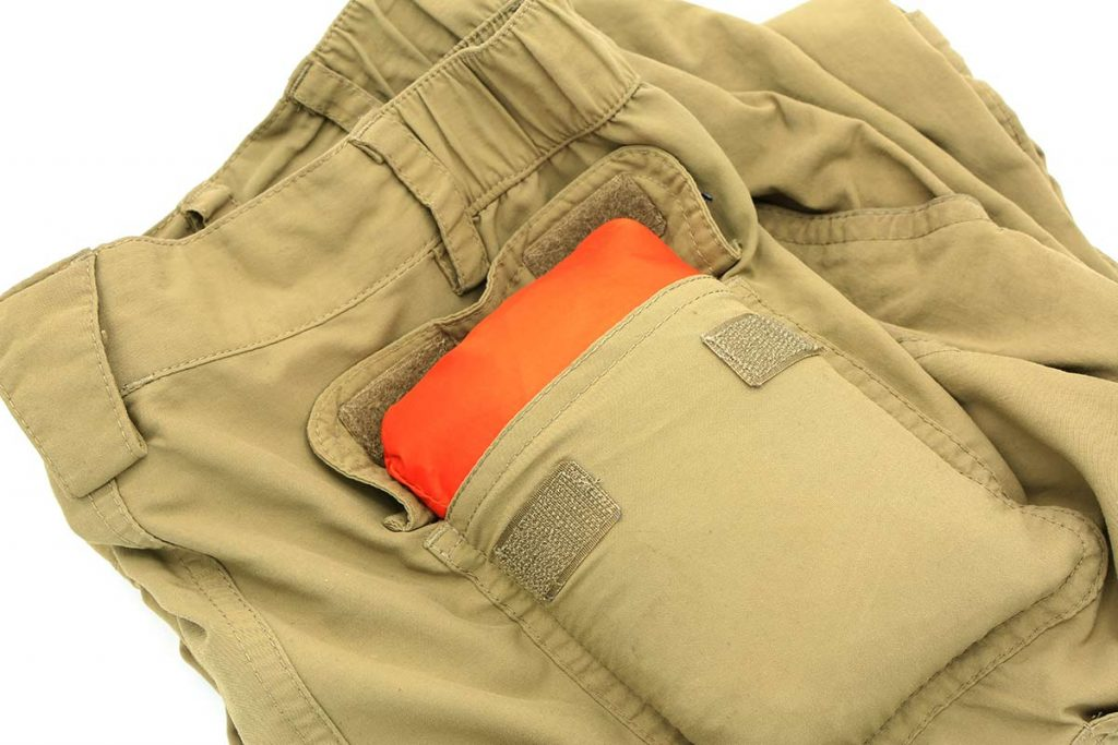 The Coalcracker Bushcraft T6ZERO is one of the most packable shelters available. It folds into a cargo pocket and cargo back pocket easily.