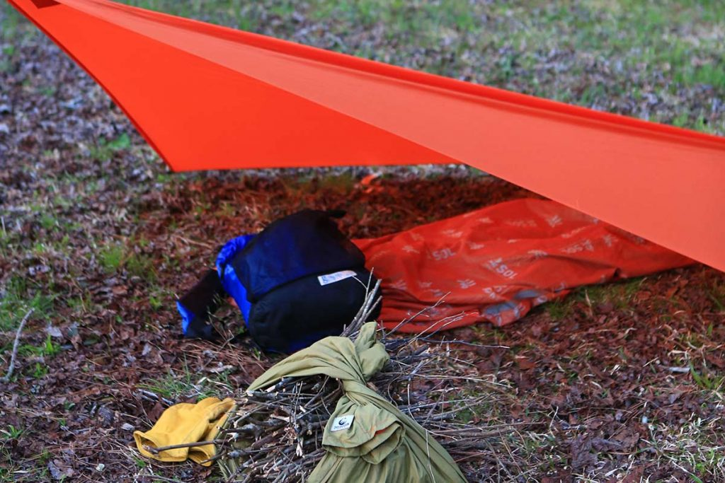 The second configuration in which the tarp easily sets up into what is known as the flying diamond.