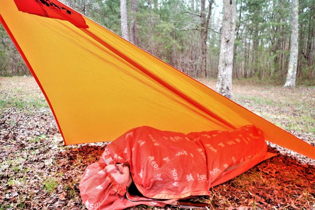 The flying diamond is more commonly known as the plow point, demonstrated here with the Coalcracker Bushcraft T6ZERO tarp.
