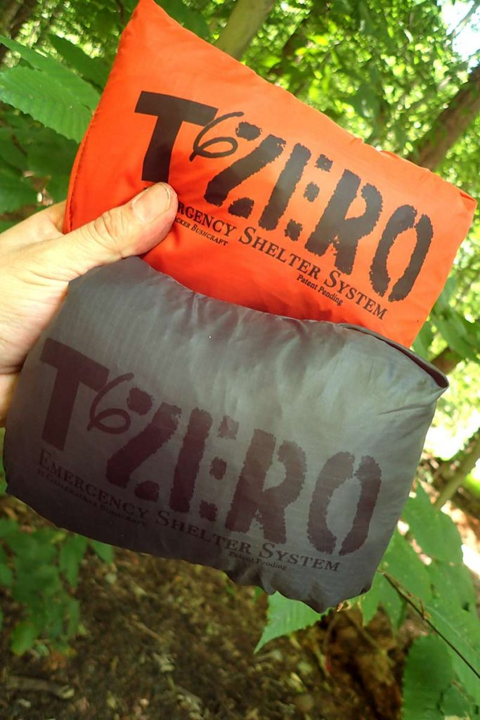 The T6ZERO Emergency Shelter offers two fast set-ups in a hurry. Here the author displays the stealthy grey and orange.