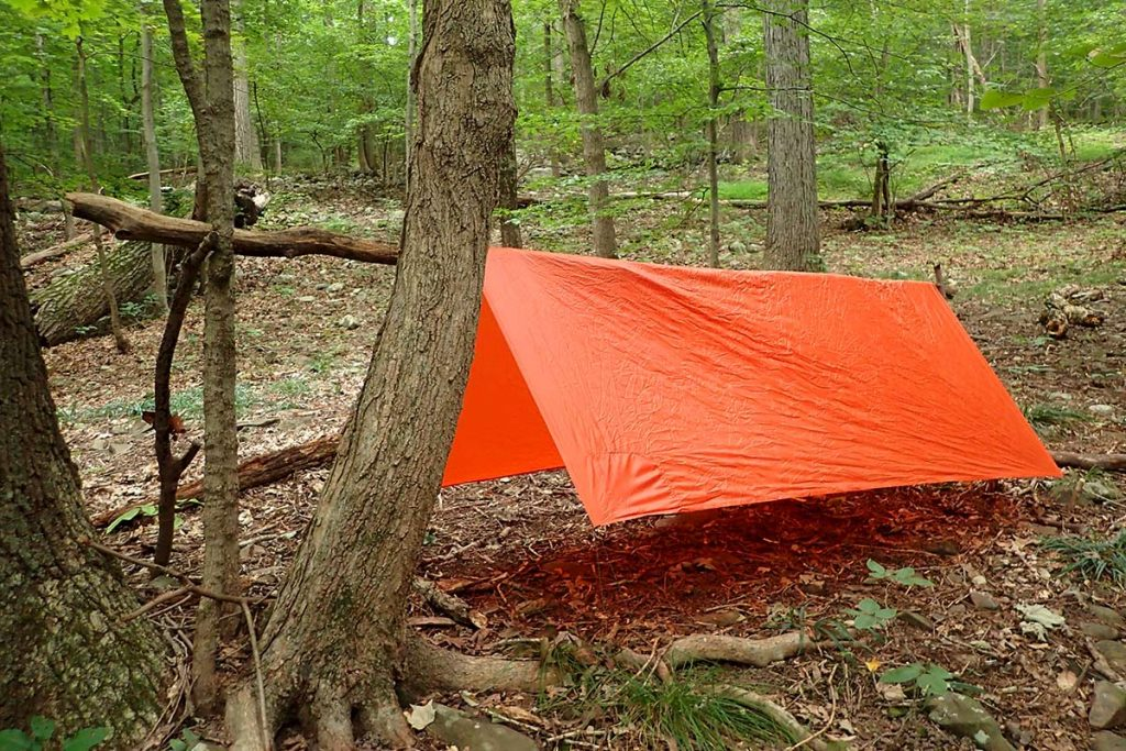 The author set up an A-Frame style shelter with the T6ZERO using Y-poles and no cordage.
