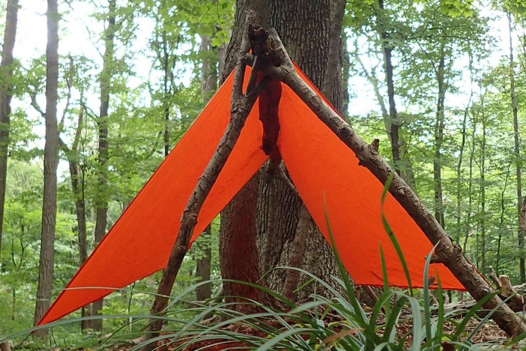 Two Y-poles supporting a ridgepole for the Coalcracker T6ZERO tarp. The pressure from the tarp holds the Y's in place.